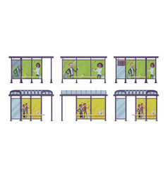 Bus stop set vector