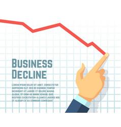 Businessman hand drawing decrease graph profit vector