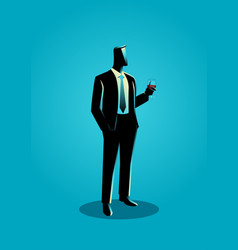 businessman in formal suit holding a glass of wine vector image