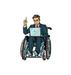 Businessman in wheelchair isolated on white vector