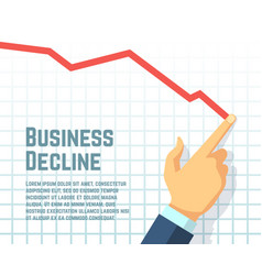 Businessmans hand drawing decrease graph profit vector