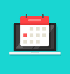 calendar or agenda on laptop computer screen vector image