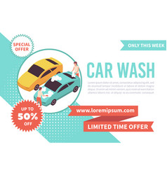 Car wash isometric banner vector
