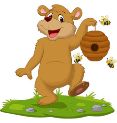 cartoon bear holding beehive on grass vector image