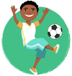 Cartoon boy playing soccer vector image