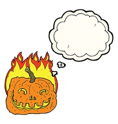 Cartoon burning pumpkin with thought bubble vector