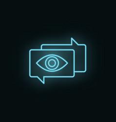 Chat search neon icon web development icon vector