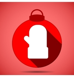 Christmas icon with the silhouette of the mittens vector