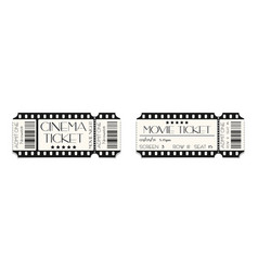 cinema ticket template mockup with barcode vector image