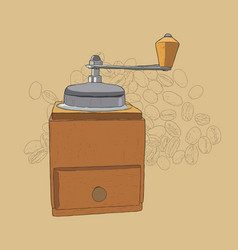 Coffee grinder freehand pencil drawing vector