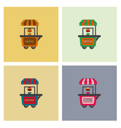 Coffee shop cart set vector