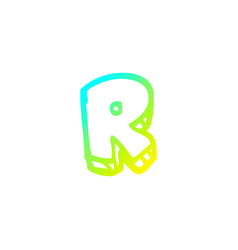 Cold gradient line drawing cartoon letter r vector