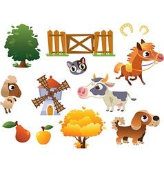 collection farm animals vector image