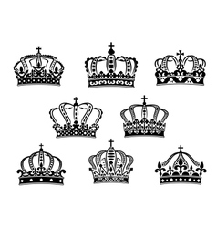 Collection of heraldic royal crowns vector image