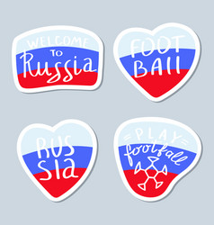 Collection of minimalist stickers with russia vector