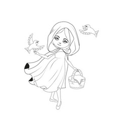 coloring book red riding hood vector image