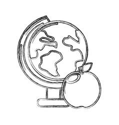 contour earth plenet desk with apple fruit vector image