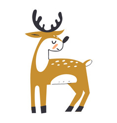 Cute deer with antlers deer in scandinavian vector