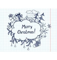 cute doodle christmas frame sketch vector image