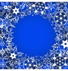 Decorative winter frame with ornate snowflakes vector image
