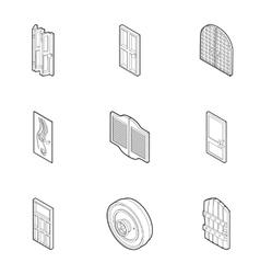 Door icons set outline style vector