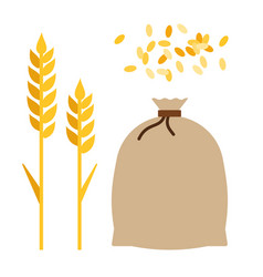 Ears corn and a bag wheat flat icon isolated vector