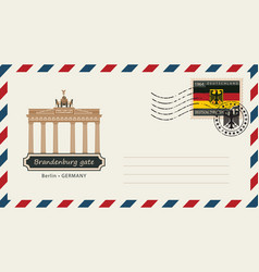 Envelope with postage stamp with brandenburg gate vector