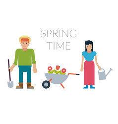 Family man and woman with potted flowers and vector