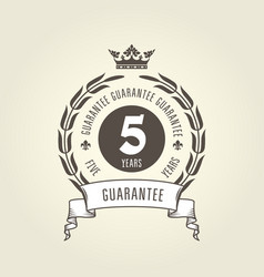 five years warranty seal - chic guarantee emblem vector image