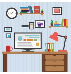 Flat of modern office interior designer desktop vector