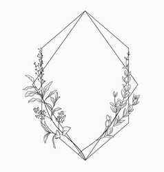 Floristic frame with geometric linear vector