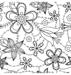 Flowers pattern coloring vector image