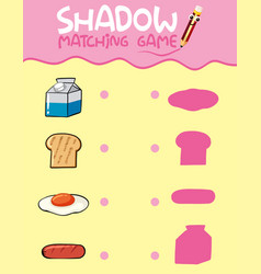 Food shadow matching game template vector
