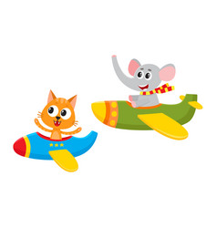 Funny animal pilot characters flying on airplane - vector