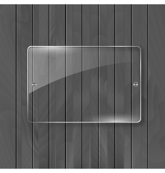 Glass frame on wooden texture background Glass vector
