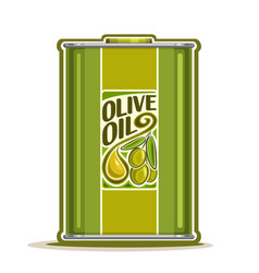 green metal bottle with olive oil vector image