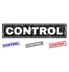 grunge control scratched rectangle watermarks vector image