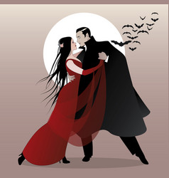 Halloween dance party romantic vampire couple vector