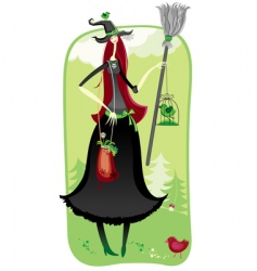 halloween witch in woods vector image