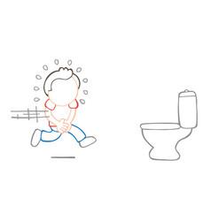 Hand-drawn cartoon of man running to pee on vector