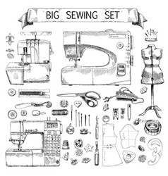 hand drawn sketch big sewing set vector image
