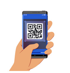 hand holding smartphone with qr code scanner vector image