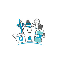 Happy family of healthy teeth and friend vector