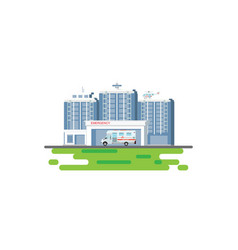 hospital building with ambulance car and medical vector image