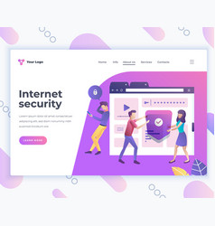 landing page template internet security concept vector image