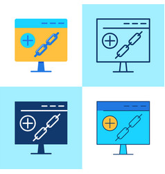 link building icon set in flat and line style vector image
