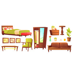 Living or bedroom object set with leather sofa vector