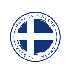 made in finland round label vector image