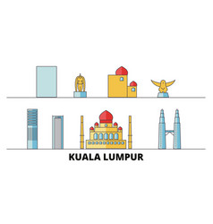 Malaysia kuala lumpur flat landmarks vector