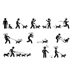 man walking dog stick figures depict people vector image